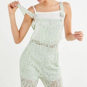 Urban Outfitters Dahlia Mint Lace Overalls M NWT